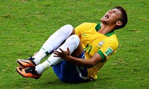 While Neymar did indeed suffer a legitimate injury, this picture could easily have been taken during one of his many flops.
